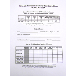 score sheets for complete minnesota dexterity test human
